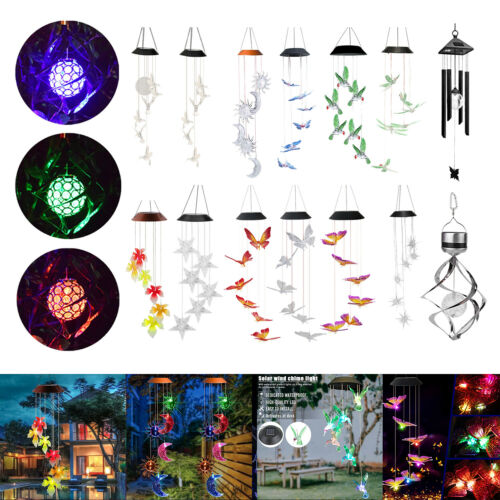 Color-Changing LED Solar Powered Lights Wind Chimes Waterproof Yard Garden Decor