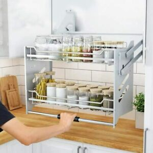 Wall Cabinet Pull-Down Dish Rack 2 Tier Shelving System ...