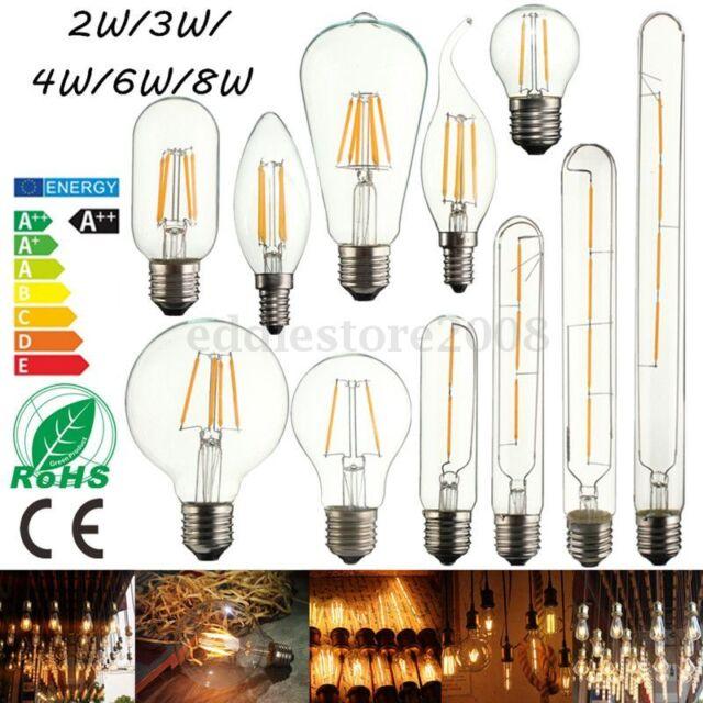 E14 E27 2/3/4/6/8W Edison Retro Filament LED Bulb Candle Light Globe Lamp AC220V