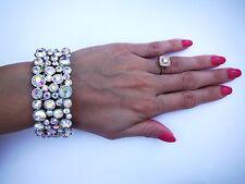 Ab crystal bracelet Silver ballroom latin dance competition  Fitness Bikini prom