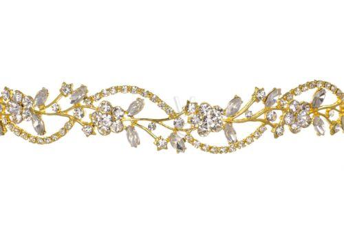 Gold Bridal Floral Rhinestones Crystal Prom Wedding Tiara Headband 1180