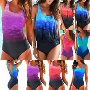 Damen Push Up Gepolstert Bikini Monokini Push Up Badeanzug Bademode Einteiler