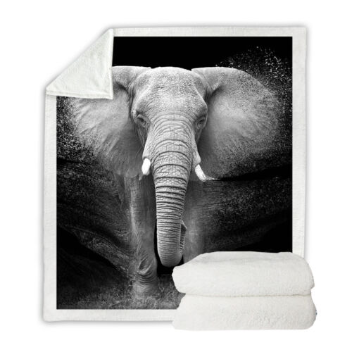 Grey Elephant Animal Print Sherpa Plush Throw Blanket Fleece Bed Sofa Couch