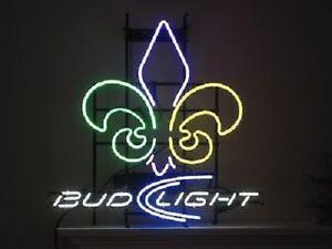 Details About New Budweiser Bud Light Orleans Saints Logo Neon Sign 20 X16