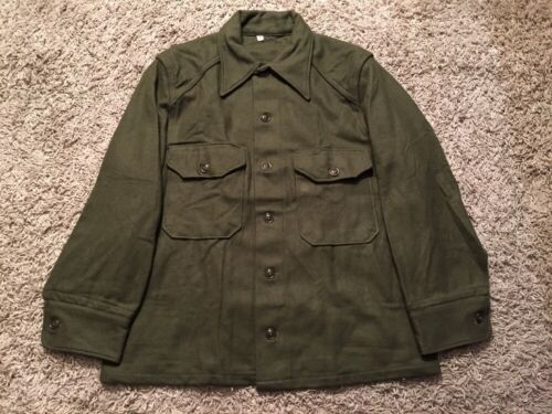 Vintage 1951 US Military Woodbury 100% Wool Field Shirt Olive Green, Size Med