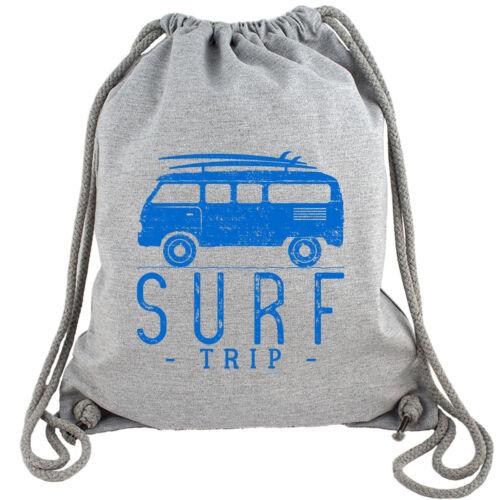 Surf Trip Gym Bag Turnbeutel Rucksack Gymbag Sport Fitness Reisen Surfen Fun Bio
