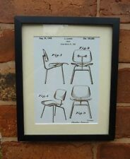 USA Patent vintage RETRO DESIGNER CHAIR furniture Eames MOUNTED PRINT 1948 Gift