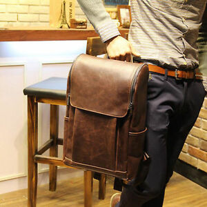 2d900e66fe Vintage Men s Faux Leather Backpack bags Messenger rucksack laptop ...