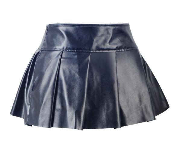 b73b2dace92b Gothic Black Faux Leather Steampunk Pleated Size S-2XL Mini Skirt Clubwear  A2414