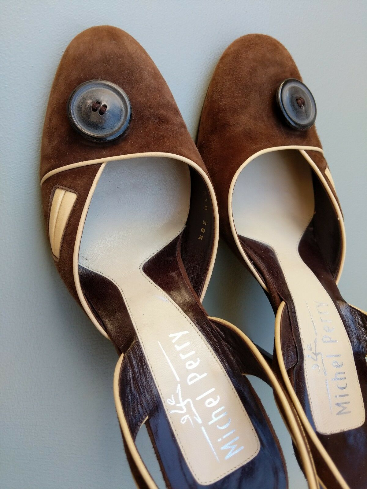 Michel Perry Braun Suede and Leder Slingbacks Court 5.5 Schuhes Größe 38.5 UK 5.5 Court 877ab5