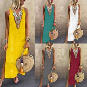 Women-V-Neck-Sleeveless-Floral-Print-Dress-Casual-Loose-Bohemian-Maxi-Dresses
