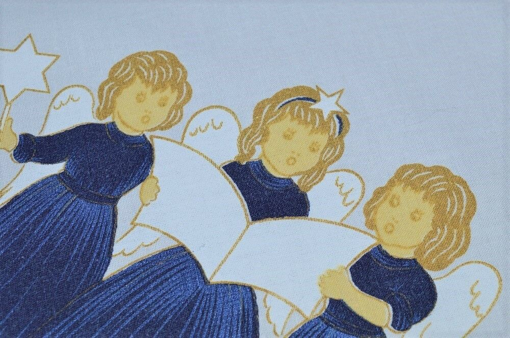ANGELS IN NAVY bleu SING TO THE HEAVENS  VTG GERMAN  PRINT TABLECLOTH CHRISTMAS