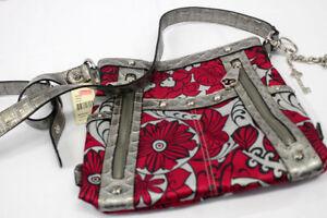 Details About Genna De Rossi Purse Handbag Red Floral Silver Straps Shoulder Bag Nwt