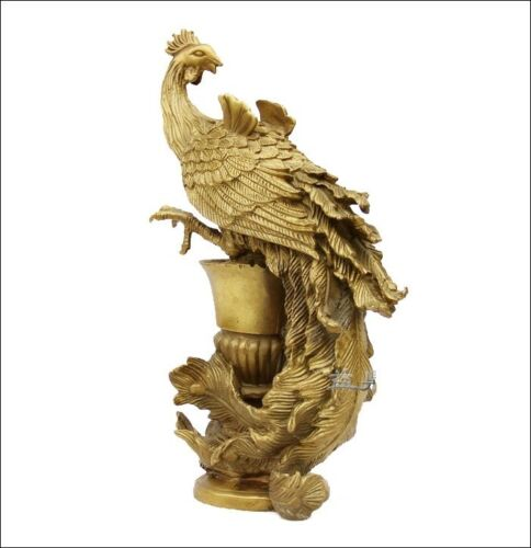 Chinese Royal pure Brass Copper phoenix phenix Bird God Palace Decor Statue