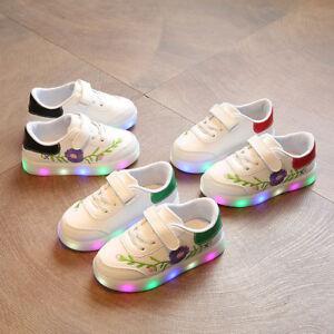 enfants-bebes-PETITE-FILLE-CHAUSSURES-SPORT-fleur-LED-Lumineux-cuir-baskets