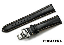 22mm Calf Leather Padded Soft Watch Band Strap Deployment Clasp Bracelet Black
