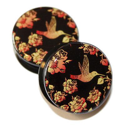 Pair of Black Orange Hummingbird Flowers PMMA Acrylic Screw-Fit Ear Flesh Plug