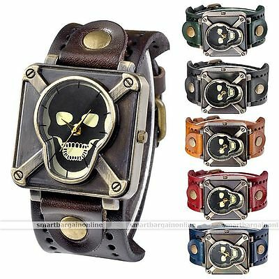 Gothic Rock Poison Skull Square Quartz Dial Wrist Watch Retro Leather Band