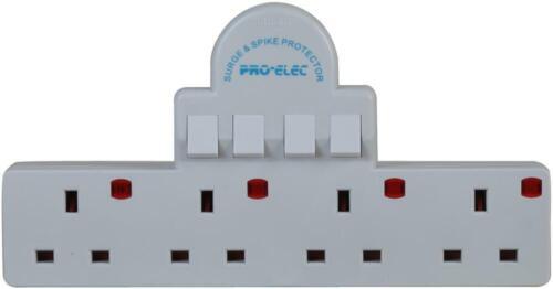 Pro-ELEC 4 Switch Adaptateur Gang Surge /& Spike Protector 4 Way Multi Plug Socket