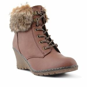 8f85b2e51 WOMENS LADIES GIRLS WEDGE HEEL FUR LINED COMFY WINTER ANKLE BOOTS ...