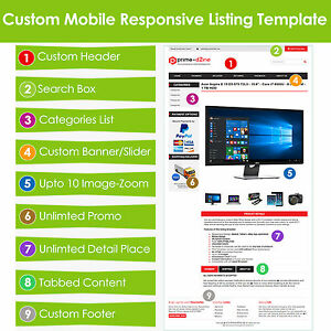 Custom EBay Listing Template HTML Professional Mobile Responsive - Ebay website template
