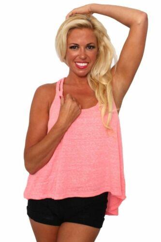 Women/'s Heather Tank Top Juniors Braided Back Hi-Low Shirt NEON CORAL