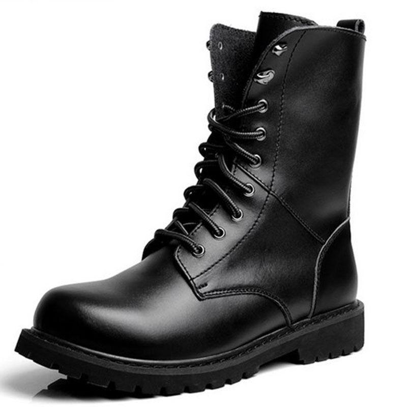 Casual salvaje Zapatos de Cuero De hombre hecho a mano Original Negro Estilo Militar Combate Tobillo Botas Altas