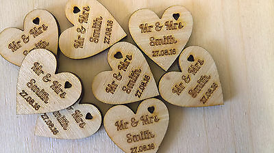 Wooden Love Heart Table Decorations Personalised Rustic Wedding Favours Confetti