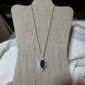 92-5-Sterling-Silver-Necklace-with-Emerald-Green-Teardrop-Crystal-Pendant