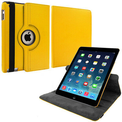 Yellow 360 Rotating Case Cover Holder Pouch for Apple iPad Air 5 5th Gen