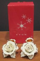Avon Winter Rose Candle Holder Set Ivory & Gold From 2005 Holiday Rare