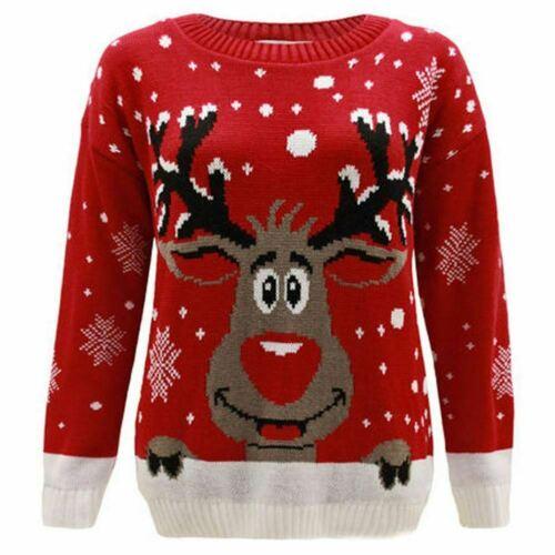 Ladies Women Unisex Reindeer on Wall Novelty Christmas Xmas Jumper Sweater Plus