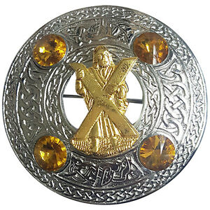 "Scottish Chrome Celtic Kilt Fly Plaid Brooch Yellow Stones 4"" S T Andrew Badge"