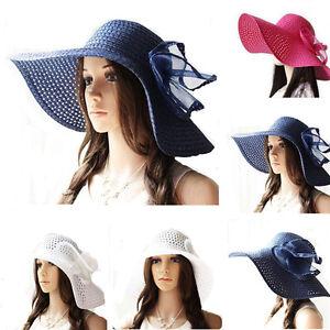 Women Sun Straw Hat Large Wide Brim Floppy Beach Wedding Bohemia ... 2736585e27e
