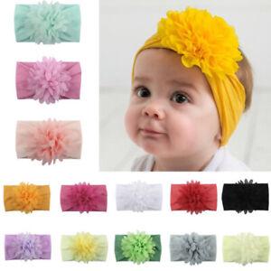 Baby Flower Wide Nylon Headband Head wrap Elastic Kids Turban Hair Accessories