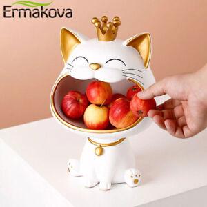 Vide-poche chat blanc doré couronne porte-bonheur Sculpture statue rangement roi