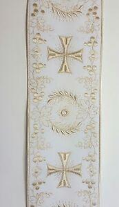 Vintage-Religioso-Croce-Design-Luce-Beige-su-Bianco-Orphrey-Fascia-10-2cm-C153