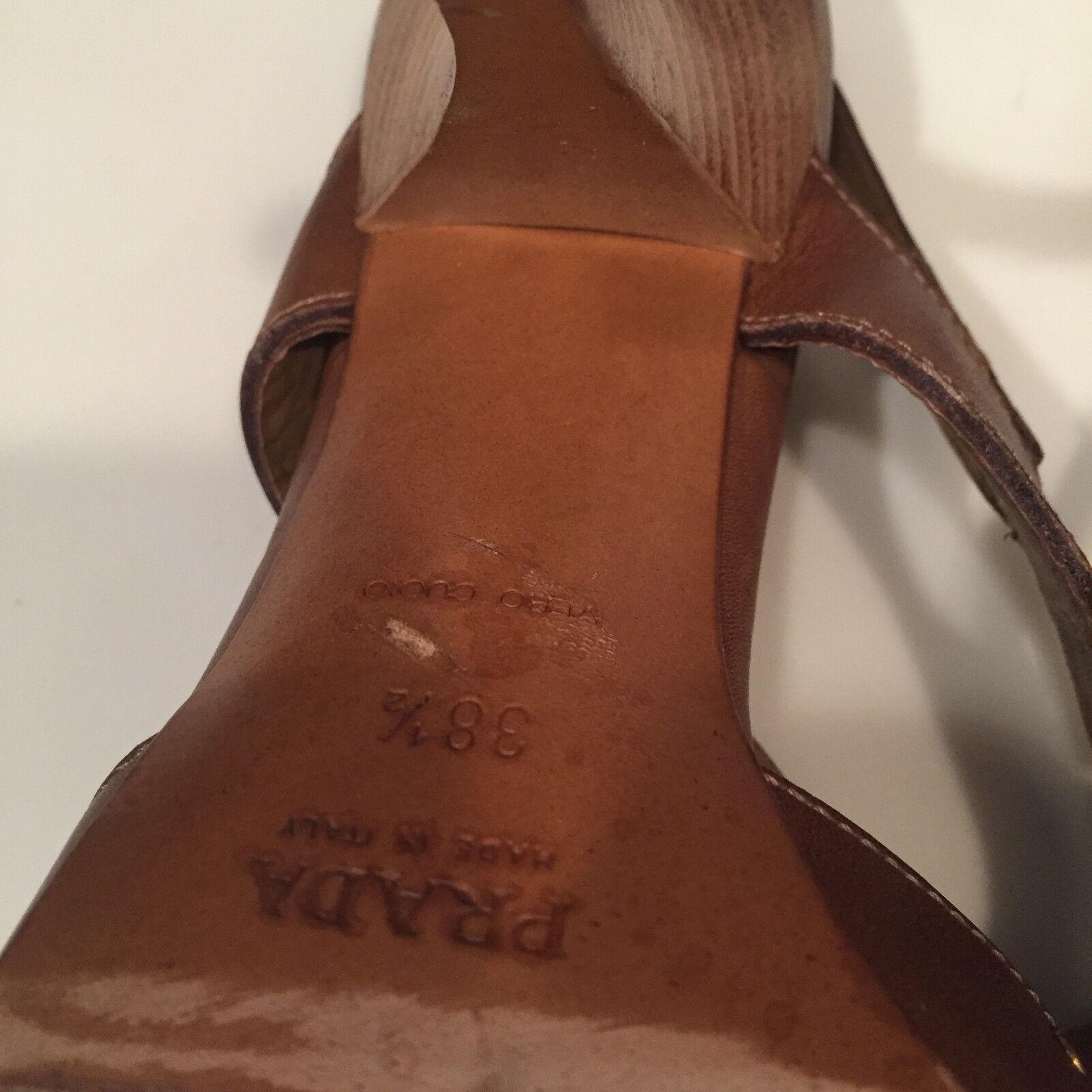 Prada studs caramel Leder with gold studs Prada high heel Sandale b2600a