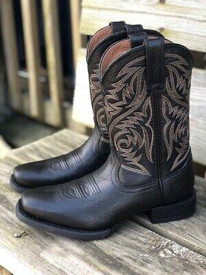 black mens square toe boots