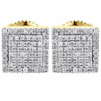 Diamond Earrings Mens 10k Yellow Gold Round Cut Square Studs Fully Iced 0.25 Ct. on sale