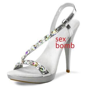 39 12 De La Strass Argent Glamour Sandales Jewel Sexy Mode Talon Plateau Numéro wAzS18Sn