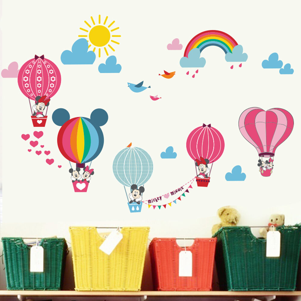 Mickey Minnie Mouse Hot Air Balloon Wall Stickers Nursery Decal Baby Room Decor Ebay