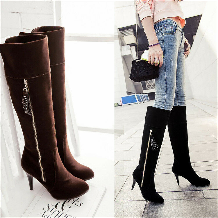 NEW Women's Knee High Boots Stilettos Heels Zip Suede Pointy Toe Fashion shoes