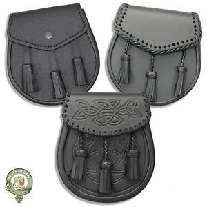 Scottish Kilt Sporran, Semi Dress Kilt Sporrans, Black Leather Kilt Sporrans NEW