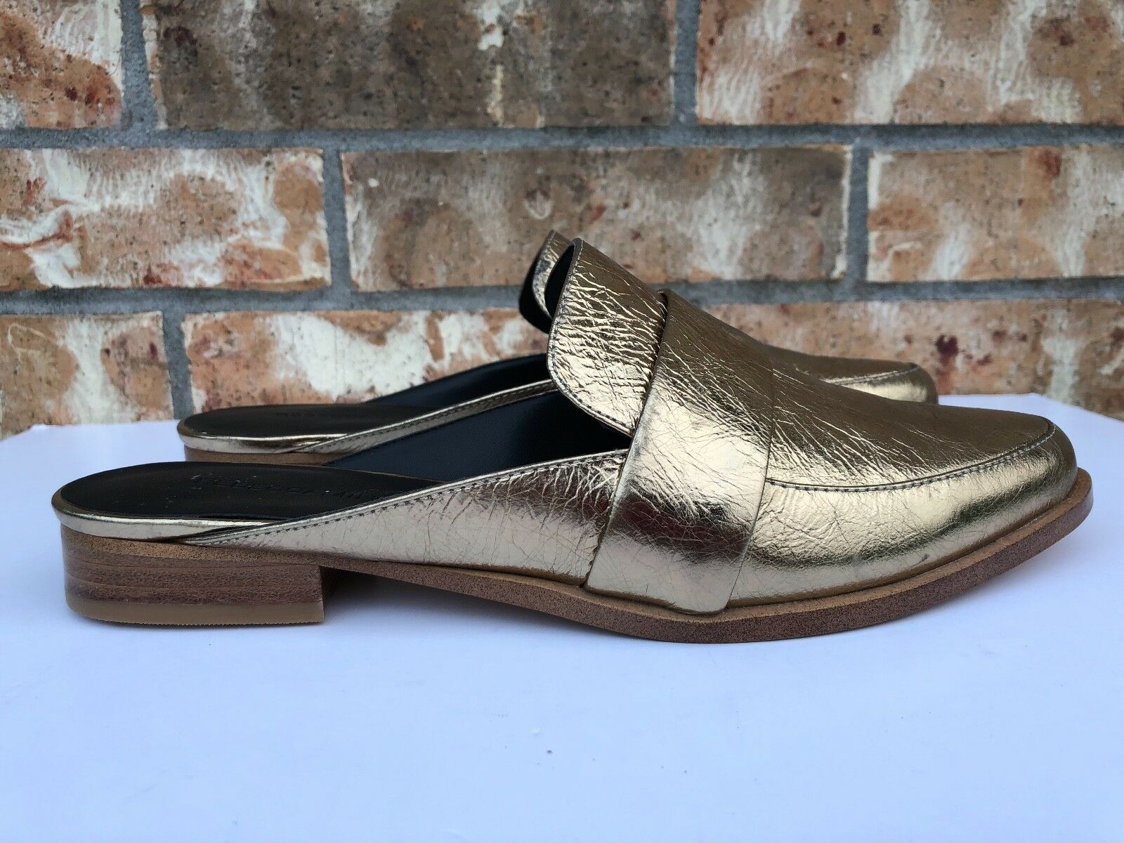 Donna Rebecca Minkoff Mika Metallic Gold Pelle Slip On Mules Slides Loafer Mules On 5babdc