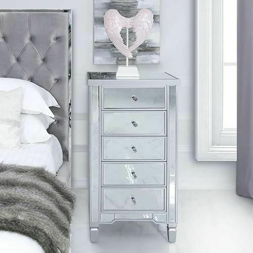 Venetian Mirrored Cabinet Bedroom Mirror Tallboy Silver Glass Tall Chest Drawers For Sale Ebay