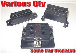 12V 24V BLADE FUSE LED HOLDERS STANDARD LED WARNING 6 WAY WITH LIDS