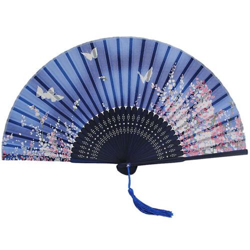 Butterfly and Flower Hand Held Silk Bamboo Japanese Folding Fan