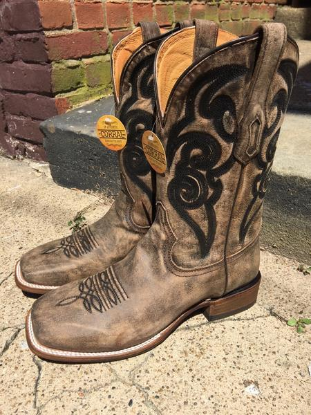Corral Men's Distressed Brown Vintage Cowhide Square Toe Boots A3303