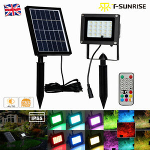 Solar-RGB-9-Colors-LED-Flood-Light-Spotlight-Lamp-Outdoor-Garden-With-Remote-UK